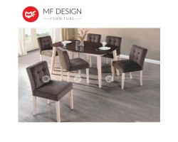 MF DESIGN  Elo Dining Set (1 Tabble + 6 Chairs) - Modern Style [Full Solid Wood]